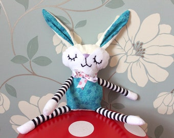 BABY BUNNY! Handmade plush, white and turquoise - Children's/Infant Toy