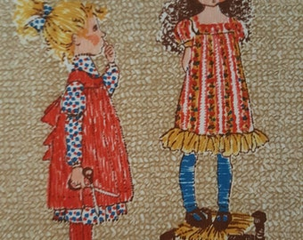 """Vintage Hollie Hobbie Cotton fabric in Beautiful Condition Remnant Measures 22"""" x 26"""""""