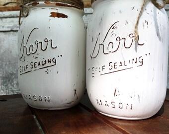 Painted mason jar, distressed jars, country decor, canning jars, kichen decor, centerpiece, mason jar vase, shabby chic, farmhouse