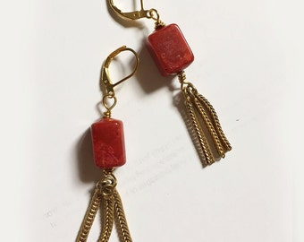 Marsala earrings with tassel. Limited edition. Only a few available