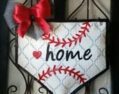 Baseball Home Plate Burlap Door Hanger Decoration and Wreath Replacement