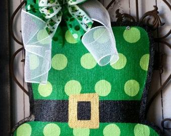 St Patrick's Day Leprechaun Hat Burlap Door Hanger Decoration