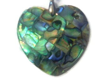 """Silver necklace and pendant heart """"Abalone"""""""