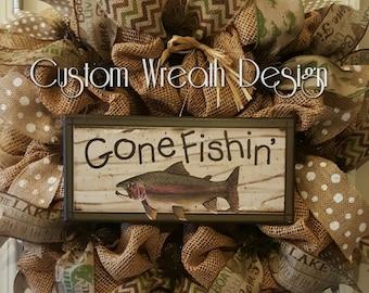 "Burlap Gone Fishin' Wreath. 24"".Fishing Wreath."