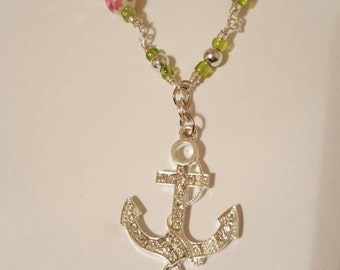 Silver Anchor Wirewrapped Necklace