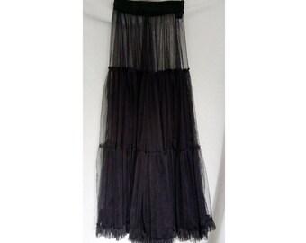 Transparent black tulle petticoat