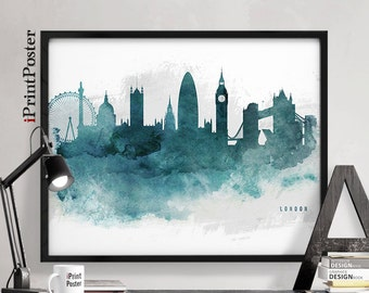 London print, London skyline, London poster, London watercolour, wall art, UK, home decor, British, England, United Kingdom, iPrintPoster