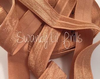 "Solid FOE, 5/8"" Fold Over Elastic Peach, Peach Elastic, Peach Elastic Headband, Lingerie, Baby, Straps, Low Shipping, Foldover"