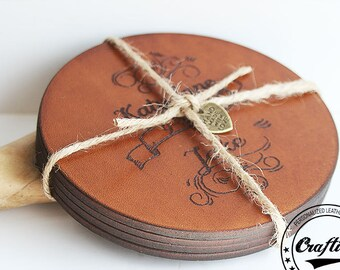 3rd Anniversary, Leather Anniversary Gift, Personalized Leather Coasters, Gift for her, Third Anniversary, Custom Names and Date, Rush Order