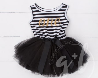 First Birthday outfit monogrammed dress or halloween costume Black and white with gold glitter