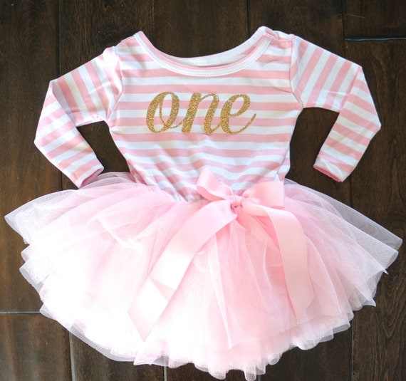 First Birthday Outfit Dress With Gold Letters By