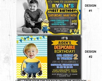 MINION BIRTHDAY PARTY Invitation, Minion Birthday Party Invite, Minion Party Invitation, Minion Party Invite, Minion Invitation Boy