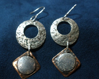 Textured Sterling Silver Disks With Copper Square Dangle Earrings