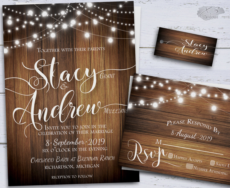 Wedding Invites Rustic: Rustic Wedding Invitation Country DIY Printable By X3designs