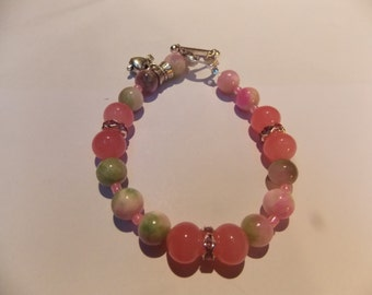 Hand made,one of a kind Beaded bracelet w/ tourmaline