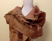Walnut Brown handmade felted wool and silk wrap with pretty floral silk and contrasting inlay