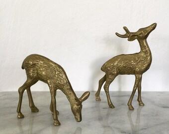 Brass Deer, SET, vintage deer, deer figurines, mid century, nature inspired, holiday decor