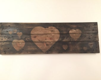 Rustic Wooden Wall Art with Hearts