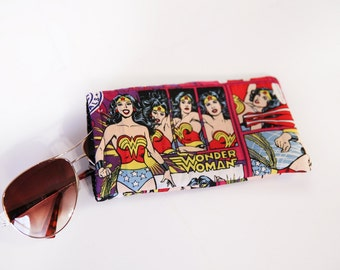 Wonder woman accessory sunglasses protector wonder woman pouch purse car accessory organizer iPhone android case comic book gift