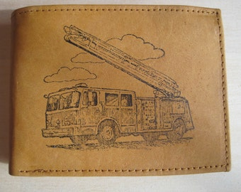 "Mankind Wallets Men's Leather RFID Blocking Billfold w/ ""Firefighter's Fire Truck"" Image~Makes a Great Gift!"