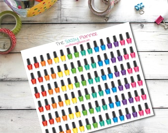 D9 Nail polish manicure pedicure stickers for Erin Condren Life Planner/Plum Paper Planner - set of 96