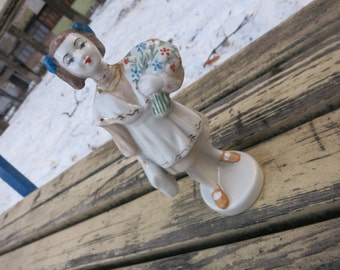 Vintage USSR Porcelain Figurine girl  Porcelain figurine woman Vintage Soviet Union in 1960!