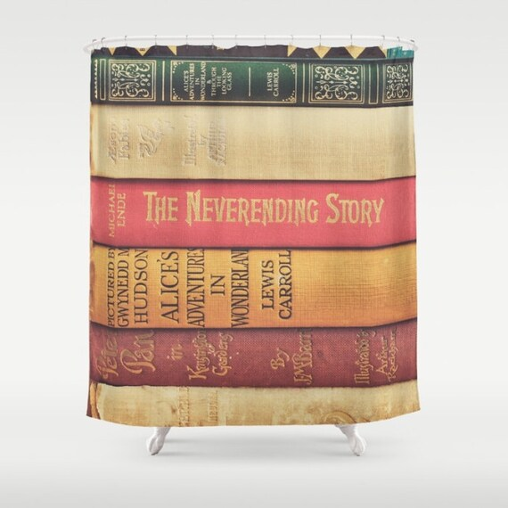 Books shower curtain peter pan bathroom decor alice in for Bathroom designs book