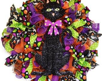 Halloween black cat wreath - polka dots - black cat wreath - kitty decor
