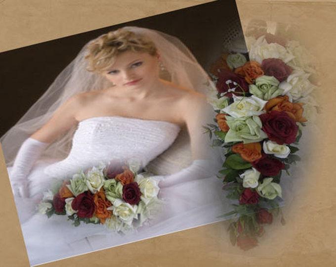 Cascade wedding Bouquet bridal set 2pc  orange ,burgundy. Ivory,and green