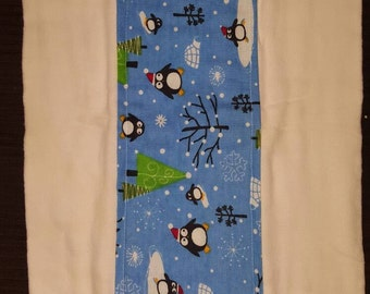 Cute penguins burp cloth