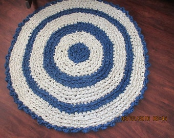 Crocheted Rag Rug Blue, White  JW100