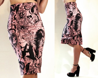 "Pinup skirt - Pencil skirt - Rockabilly skirt - Psychobilly, Gothic skirt - Skirt ""Hello Darkness"" by Oceanfront - XL"
