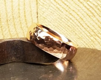 6mm Hammered Women's Wedding Band in 100% Eco-Friendly Recycled 14K Rose Gold with Free Sizing 4-12