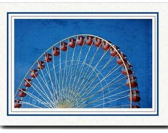 Handmade Card, Photo Greeting Card, Chicago Navy Pier, Ferris Wheel, Photo Note Card, All Occasion Card, 5x7 Blank Card, Fine Art Print