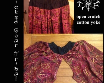 Open crotch, cotton yoke silky pantaloons / harem pants, ATS pantaloons, dance pants