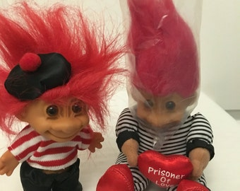 Adorable vintage troll dolls