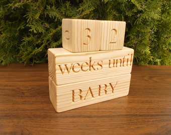 Baby Countdown blocks, Baby Calendar, Handmade nursery decor, Baby shower gift, Home decor, Rustic, Personalized blocks, Wood signs