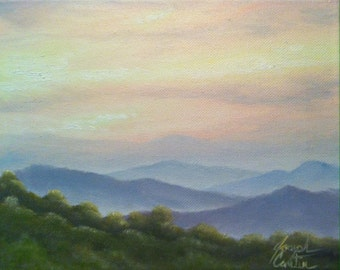 Blue Ridge Mountains Art Fall Art Autumn Art Sunset Painting 8x10 Oil On Stretched Canvas By Joseph Cantin