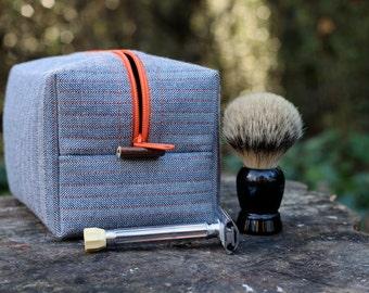 Men's Dopp Kit, Shave Kit - Herringbone and Orange, Vinyl lined