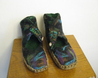 Wet felted Moccasins-shoes