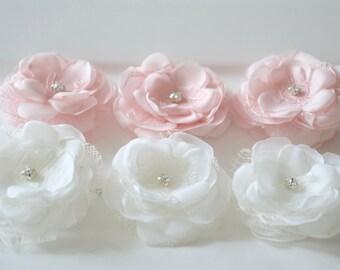 Small Wedding hair flowers, blush pink/Ivory bridal hair clips, flower girl, bridal hair accessories, hair flower, wedding hair accessory
