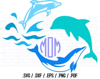 Dolphin SVG Clipart, Vector Design Files, Silhouette Cameo, DXF Files, EPS File, png clipart, Cricut Design Space - CA285