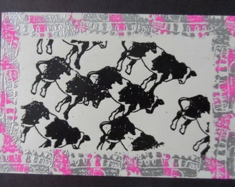 Embossed Rubber Stamped Art-Cows Framed by Coliseums- 1995  001RS