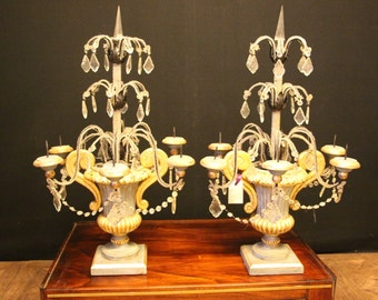 Pair of Italian Blue and Gilt Wood Candles Girandoles with Crystal Beads