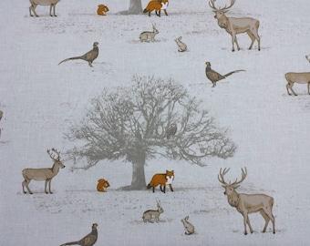 Fryetts Tatton Woodland Deer Fox 100% Cotton Fabric Curtains Upholstery  Craft
