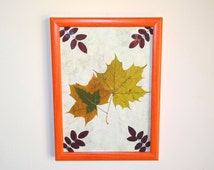 Botanical Flower art. Pressed leaves picture. Dried flowers decor. Wall decor. Table decor. Dried maple leaves decor. Weddings decor.