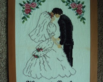 Hand- embroidered picture on a wedding gift
