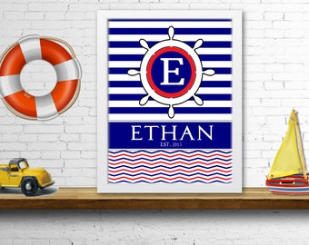 Nautical Baby Name Poster, Custom Baby Name, Monogram Initial Art, Nursery Art & Decor, Wall Decor, Baby Gift, Digital Print