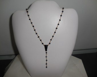 Necklace with blueblac facettes  15 inches
