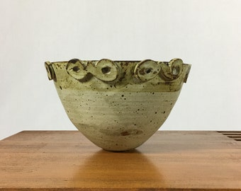 Vintage Ceramic Studio Pottery Planter Flower Pot Mid Century Modern 1970s
